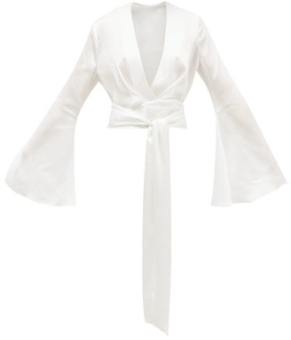 Galvan Corolle Tie-front Crinkled-crepe Blouse - White