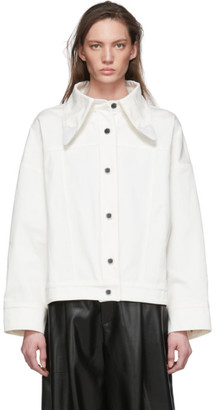Lecavalier White Denim Cowboy Collar Jacket