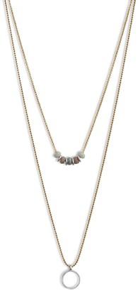 Lucky Brand Lucky Layer Bead & Circle Pendant Necklace