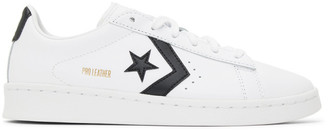 Converse White and Black Pro Leather OX Low Sneakers