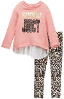 Juicy Couture SOOOO Juicy French Terry Chiffon Back Tunic & Animal Print Legging Set (Little Girls)