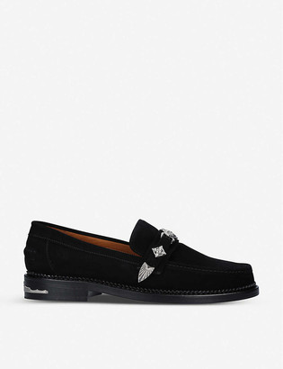 Toga Buckle-embellished suede loafers