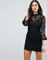 Jessica Wright High Neck Lace Shift Dress