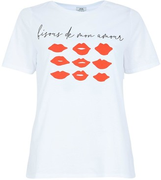 River Island Mini Lips Biscous Print Front T-shirt - White