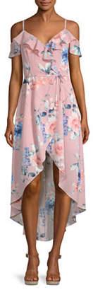Byer California-Juniors Sleeveless Floral Wrap Dress