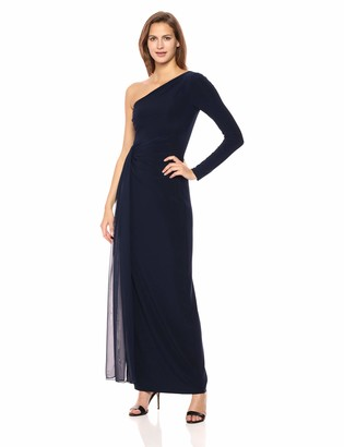 Vince Camuto Women's One Shoulder Long Sleeve Draped Gown