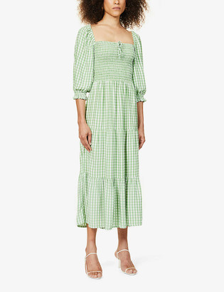 Faithfull The Brand Galet gingham-print puff-sleeve woven midi dress