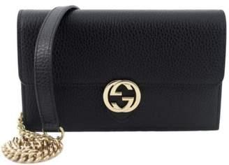 Gucci Interlocking Chain Wallet Pebbled Leather Black