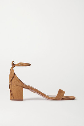 Aquazzura City 50 Suede Sandals - Beige