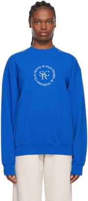 Sporty and Rich Blue SRHWC Logo Sweatshirt