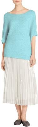 St. John Reverse Jersey Cashmere Knit Bateau Neck Sweater