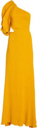 Johanna Ortiz Shimmering Blush Removable Sleeve Crepe Dress