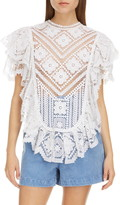 Isabel Marant Floral Lace Ruffle Cotton Top