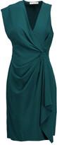 Halston Gathered crepe mini dress