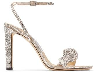 Jimmy Choo Thyra 100 Suede Crystal-Embellished Sandals