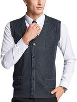 Yeokou Men's Wool V Neck Sleeveless Knitted Button Down Sweater Vest Waistcoat