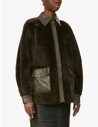 REMAIN Birger Christensen Beiru puffed-sleeve leather and shearling jacket