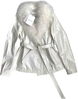 Saks Potts White Leather Leather Jacket for Women