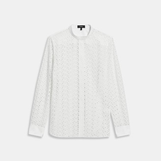 Theory Combo Shirt in Daisy Eyelet Cotton-Silk