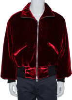 Thumbnail for your product : Amiri Red Velvet Zip Front Oversized Jacket XS