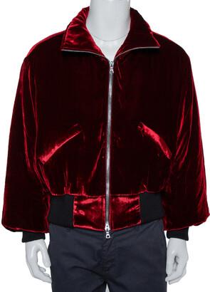 Amiri Red Velvet Zip Front Oversized Jacket XS