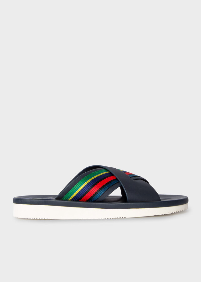Paul Smith Men's Navy 'Palms' Sandals With Grosgrain 'Sports Stripe'