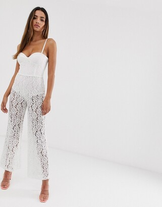 Rare London sheer lace bandeau jumpsuit with knicker shorts in white