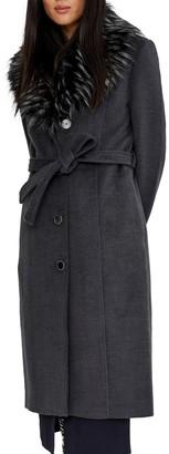 Noize Isabel Faux Wool Faux Fur Collar Coat