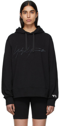 Y-3 Y 3 Black Signature Graphic Hoodie