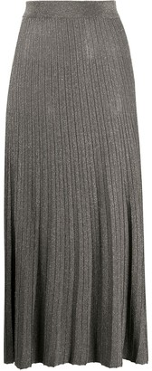 Roberto Collina Metallic Knitted Midi Skirt