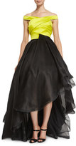 Rubin Singer Off-the-Shoulder High-Low Gown, Yellow/Black