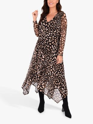 Live Unlimited Curve Animal Mesh Hanky Hem Dress, Multi