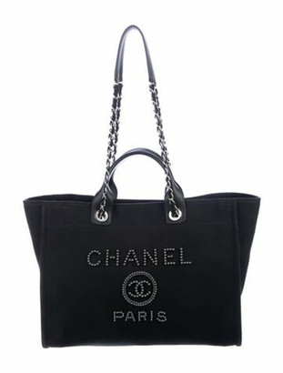Chanel 2020 Large Pearl Deauville Shopping Bag Black