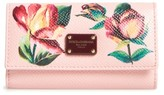 Dolce & Gabbana Women's Painted Rose Dauphine Leather Key Holder - Pink