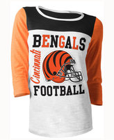 5th & Ocean Women's Cincinnati Bengals Three-Quarter Glitter T-Shirt