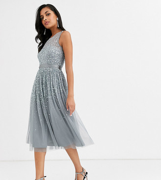 Amelia Rose bridesmaid midi dress with scattered embellishment in dark grey