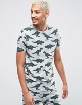 Asos Loungewear Muscle Pyjama T-shirt With Dinosaur Print