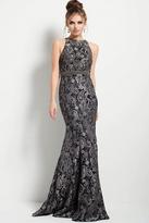 Jovani 53083 Paisley Print Halter Mermaid Dress