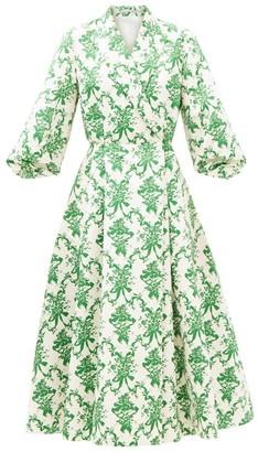 Emilia Wickstead Goldie Floral-print Faille Blazer Dress - Green White