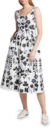 Oscar de la Renta Flower Cotton Poplin Sleeveless Midi Dress