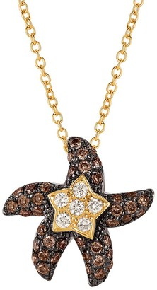 LeVian 14k Honey Gold, Vanilla and Chocolate Diamonds Starfish Pendant Necklace