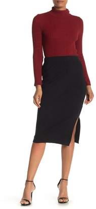 Bobeau Side Vent Solid Midi Skirt