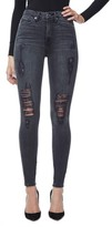 Good American Women's Good Waist High Waist Ripped Skinny Jeans