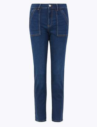 Per Una Per UnaMarks and Spencer Mid Rise Slim Fit Ankle Grazer Cargo Jeans