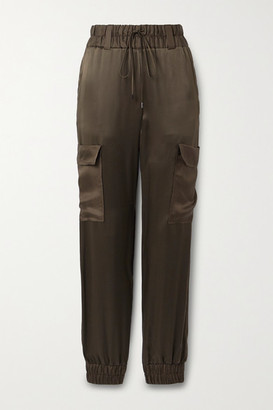 Tom Ford Silk-satin Track Pants - Army green