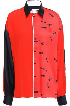 Victoria Victoria Beckham Printed Color-block Twill Shirt