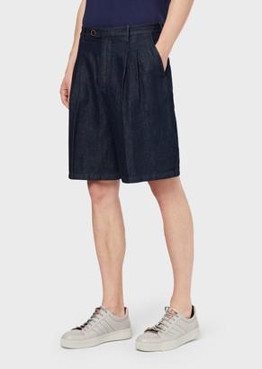 Giorgio Armani Shorts In Cotton And Linen Denim