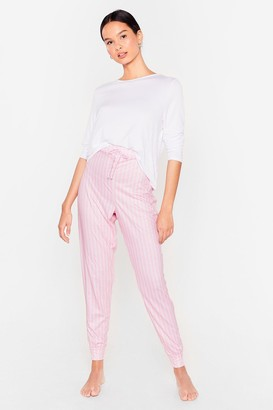 Nasty Gal Womens Stripe Here Stripe Now Tee and Jogger Pajama Set - Pink