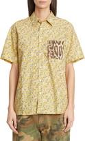 R 13 Tony Contrast Pocket Floral Print Shirt