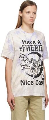 Online Ceramics SSENSE Exclusive Beige Tie-Dye 'Have A Faerie Nice Day' T-Shirt